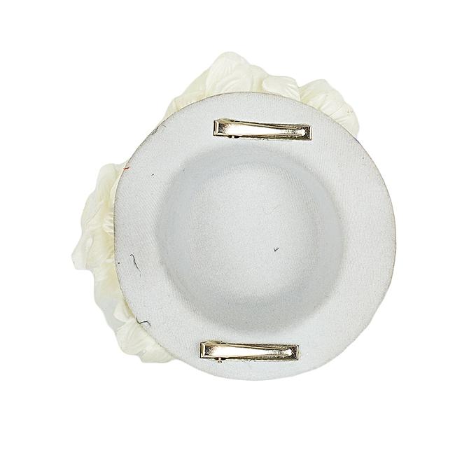 Generic White Wedding Mini Fascinator Hat With Cream Flowers   Best ... 5c147df641a0