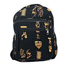 Black cotton trendy school bag with african prints