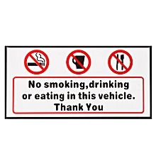 1 pcs NO SMOKING DRINKING OR EATING IN THIS VEHICLE STICKERS CAR VAN LORRY TAXI HGV