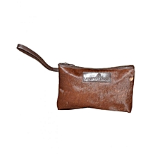 Dark Brown Leather Cosmetic Bag with Fur