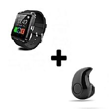 U8 Bluetooth Smart Watch + Mini Earphone - Black