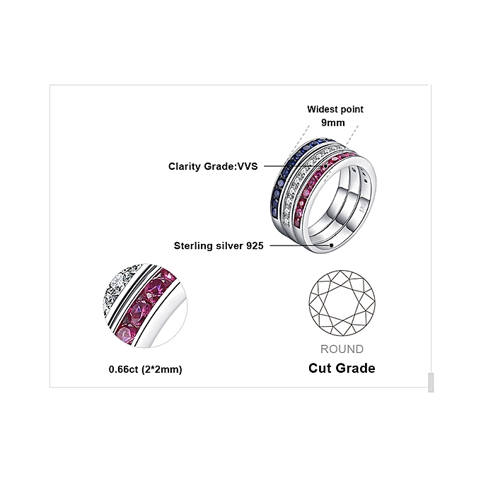 0dd27aaf5a ... Three Stack 1.8ct Round Created Ruby Sapphire Cubic Zirconia Promise  Wedding Cocktail Band Eternity Ring ...