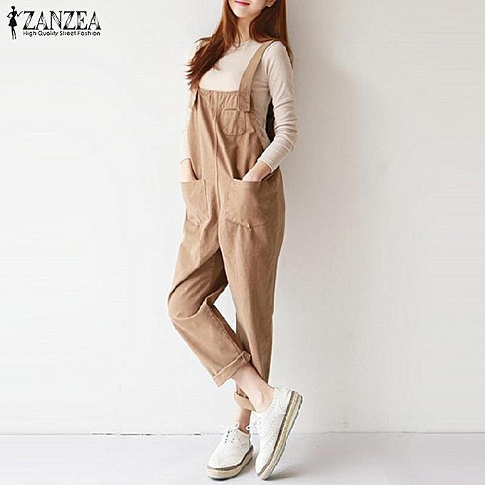 d8484df9438a ... ZANZEA Women Long Dungarees Suspenders Bib Pants Playsuit Jumpsuit  Overalls ...
