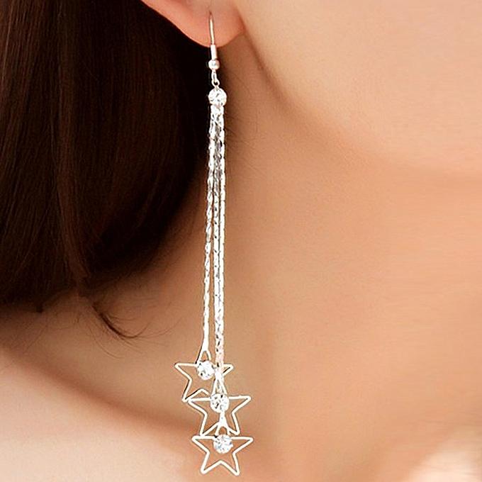 Fovibery Pearl Drop Silver Long Chain Tel Dangle Earrings Women S Fashion Jewelry