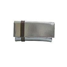 PU Clutch with Metal Chain Wraparound - Silver