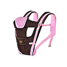 Multi - functional Ventilated Baby Carrier Backpack - Brown with Pink .