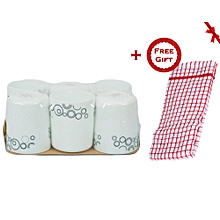 6 Piece Mug Set - White with Black Circles + FREE Gift Kitchen Towel.