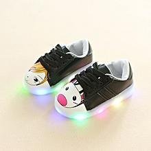 Baby unisex LED shining cartoon lace-up sneaker black