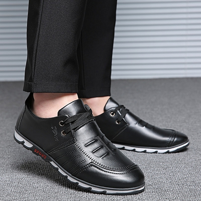 809c105059 Generic New Stylish Spring Men s Leisure Black Leather Shoes   Best ...