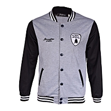 College Jacket - Grey and Black Round Neck