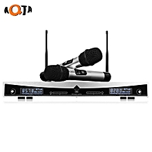 AT - 2022 Wireless UHF Microphone System Handheld Mic for Home KTV 2 Channels - EU Plug - Gray