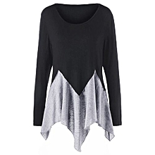 Plus Size Two Tone Long Sleeve Handkerchief T-shirt - BLACK AND GREY