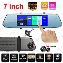 7.0'' FHD Dual Lens Car DVR Dash Cam Video Rearview Camera Recorder G-Sensor USB