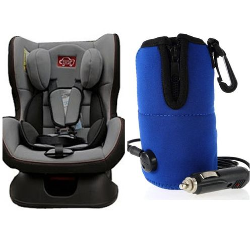 DCK Infant Car Seat - grey & A Universal Travel Baby Kid Bottle Warmer Heater in Car Blue