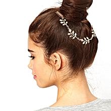 Women Fashion Leaves Metal Head Chain Leaf Chain Headband Combs Piece Gold-Gold