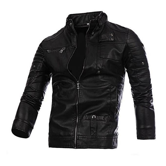Men Leather Jacket Autumn&Winter Biker Motorcycle Zipper Outwear  Warm Coat- Black