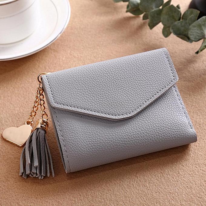 728b222c8ad Women Mini Tassel Wallet Card Holder Clutch Coin Purse Leather Handbag  Purse#grey
