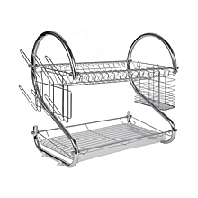2 Tier Stainless Steel Dish Drainer Drying Rack - Silver