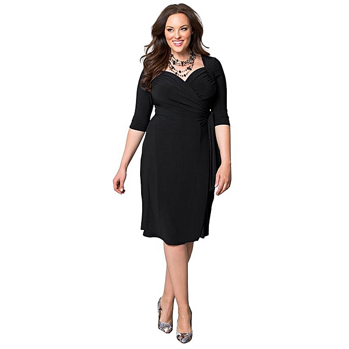 Fashion Casual V Neck Solid Color 3/4 Sleeve Plus Size Dress for ...
