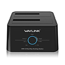 Wavlink WL-ST344U EU USB3.0 to SATA Dual-Bay 2.5/3.5 Inch HDD SSD Hard Drive Enclosure EU PLUG
