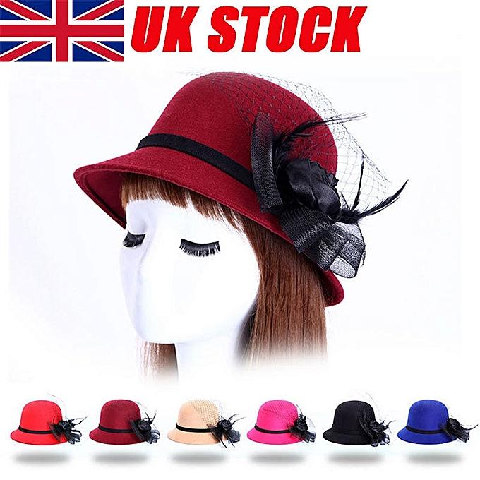 UK Ladies Flower Bucket Hat Women Retro Wedding Party Bowler Cloche Derby Cap