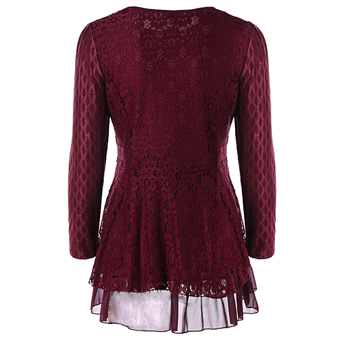0b6a5313efff8b Fashion Plus Size Embellished Lace Peplum Top - WINE RED @ Best ...