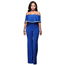 Ruffle Plain Bodycon Jumpsuits with Ankara Style-Blue