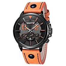 93001 Fashion Genuine Leather Strap Man Sport Watch Military Analog Quartz Watches Waterproof Mens Bussiness Wristwatch - Yellow