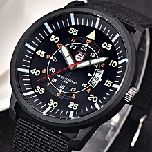 Military Males Quartz Army Watch Black Dial Date Luxury Sport Wrist Watch-Black