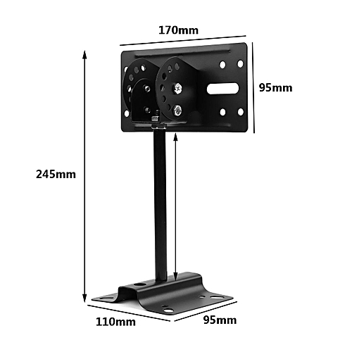 Heavy Duty Steel Large Bookshelf Speaker Side Clamping Wall Mount Bracket Black