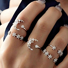 Olivaren  5 Rings Set New Bohemian Vintage Women Alloy Star Moon Shape Finger Rings Punk  -Silver