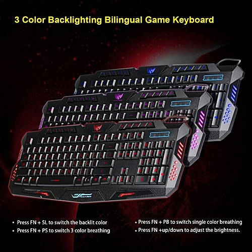 Russian USB Wired 3 Colors Crack LED Backlight Multimedia PC Gaming Keyboard