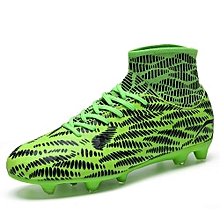 Men's Youth High Ankle Soccer Cleats High Top Turf Soccer Shoes Football Cleats Football Shoes Indoor Boys Football Boots Sneakers Spikes - Green