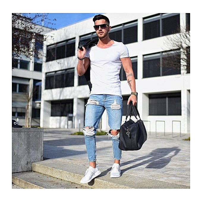 bf3fa24f638 New New Fashion casual Slim ripped jeans for men jeans skinny Hole biker  jeans mens jean Pants-blue