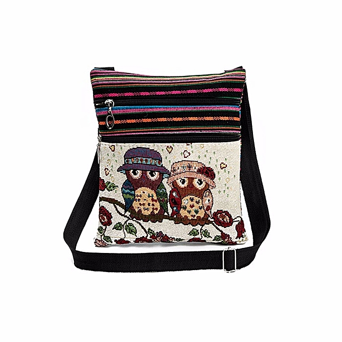 shioakp Embroidered Owl Tote Bags Women Shoulder Bag Handbags Postman  Package