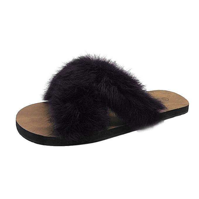 f90676b70c51 Xiuxingzi Women Fluffy Faux Fur Indoor Outdoor Flat Heel Sandals Slipper  Casual Shoes