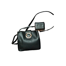 2 In 1 Ladies Leather Handbag - Black