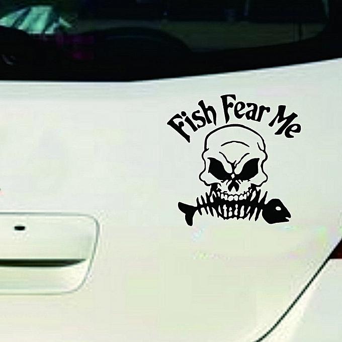 Skull Fish Car Sticker Fear Me Reflective Stickers Fishing Gear Decor