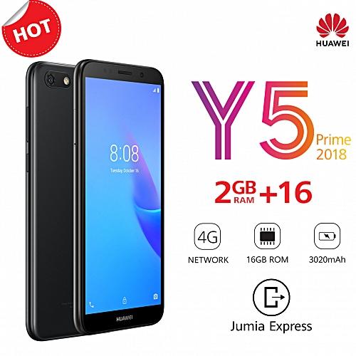 "Y5 Prime 2018 - 5.45"" - 16GB ROM - 2GB RAM - 13MP Camera (Dual SIM) - Black"