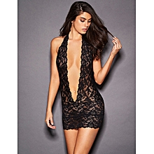 Barely There Sexy Black Lace Deep V Collar Chemise with G-String