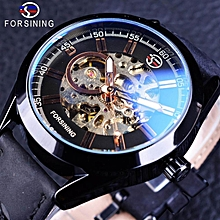 Forsining GMT1019-10 Blue Hardlex Glass Black Genuine Leather Transparent Openwork Men Mechanical Automatic Watches Top Brand Luxury Clock BDZ