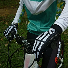 Skull Pattern Cold-proof Thicken Cycling Gloves With 3mm Shockproof SBR Pad For Winter M - Black