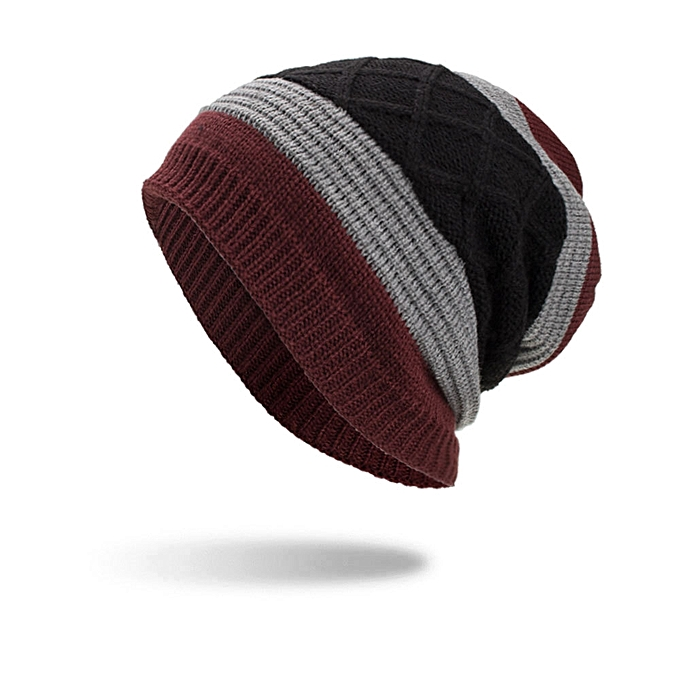 f4521c9b45973 Lesov Knitted Beanie Hat Men Warm Plush Velvet Winter Hats For Men Stripe  Hip Hop Slouchy Sport Cap Bonnet Gorro Skull Caps New