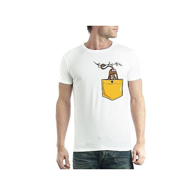 6a8050e7fa87 Creative Personality Of Men's T-shirt Monkey Pocket Cotton T-shirt Mens  Funny Tshirts