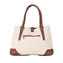 Off White and Brown Hand Bag