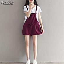 ZANZEA Womens Sleeveless Lace-up Strappy Dungaree Overalls Playsuits Pants Wine Red
