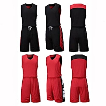 Double Side Customized Brand Men's Basketball Team Casual Sport Jersey Set-Red(XY6021)