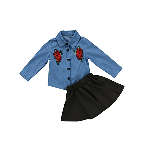 64cfb4c683b8 Generic Toddler Baby Girl Kids Embroidery Flower Denim Outfits ...