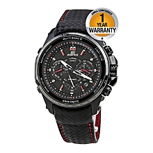 Black Leather Straps Watch With White Hands