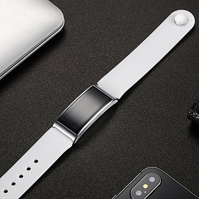 X3 Pedometer Sleep Monitor Smart Watch IP68 Waterproof Wristwatch white silicone strap